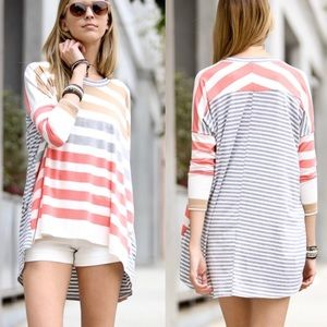 Striped Oversized Long Sleeve Tunic Tee
